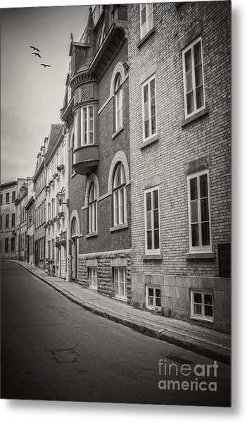 Black And White Old Style Photo Of Old Quebec City Metal Print