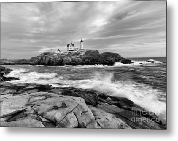 Black And White Painted Seascape Metal Print
