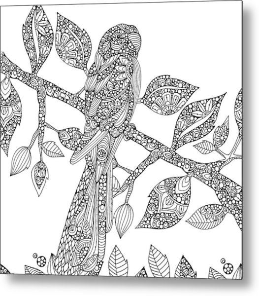 Black And White Parrot Metal Print