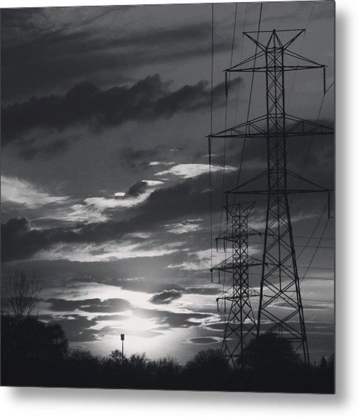 Black And White Skies Metal Print