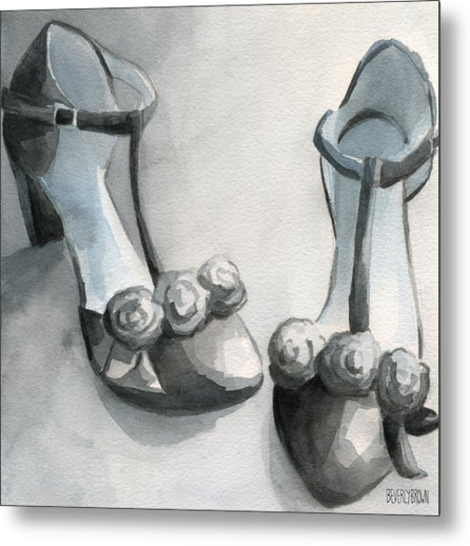Black And White T Strap Shoe Painting Metal Print