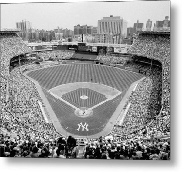 Black And White Yankee Stadium Metal Print