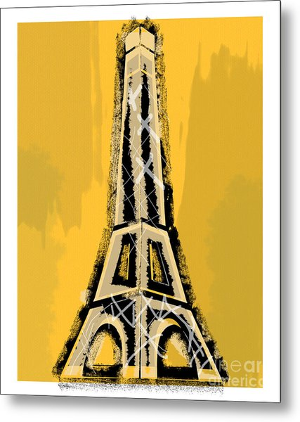 Black And Yellow Eiffel Tower Paris Metal Print