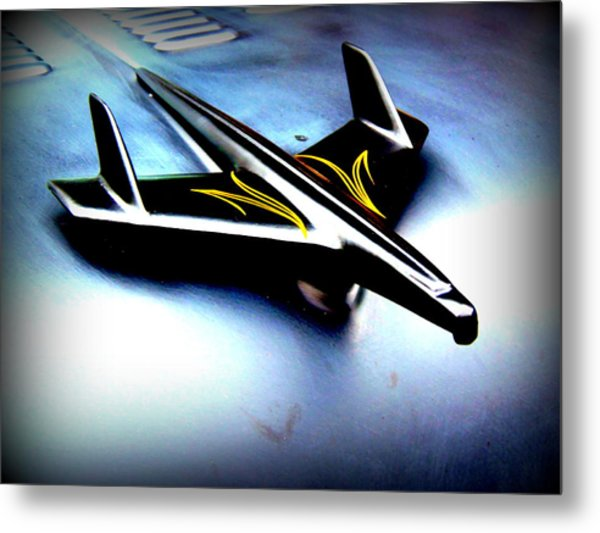 Black And Yellow Hood Ornament  Metal Print by Willy  Nelson