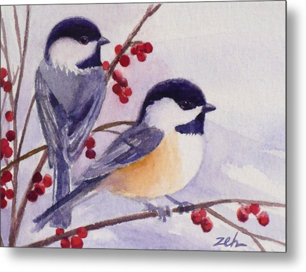 Black-capped Chickadees Metal Print