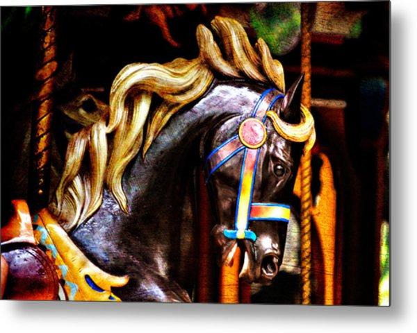 Black Carousel Horse Metal Print