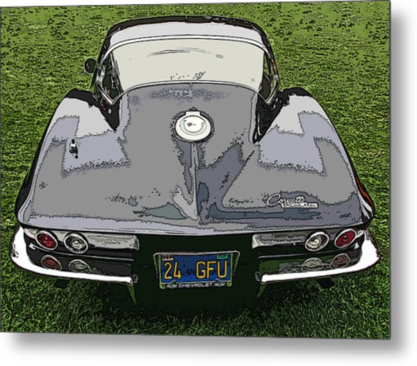 Black Chevy Corvette Stingray Metal Print