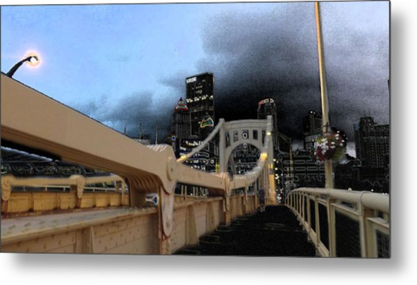 Black Cloud Over The City Metal Print