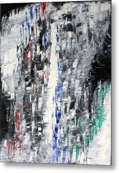 Black Crystal Cave - Black White Abstract By Chakramoon Metal Print by Belinda Capol