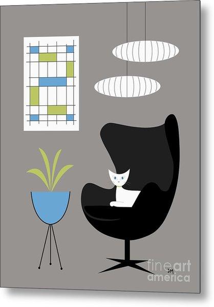 Black Egg Chair Metal Print