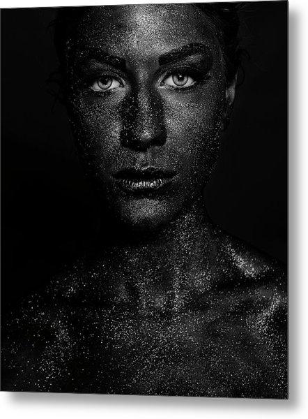 Black Face Metal Print