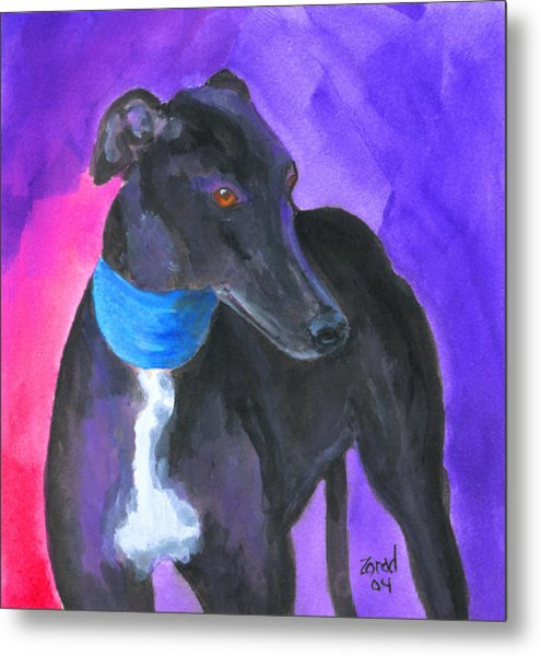 Black Greyhound Watercolor Metal Print by Mary Jo Zorad