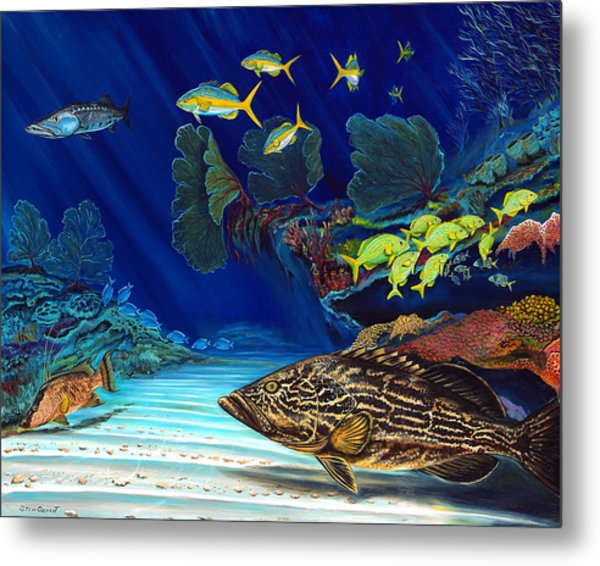 Metal Print featuring the painting Black Grouper Reef by Steve Ozment
