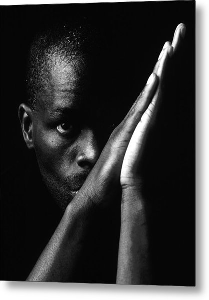Black Man With Praying Hands Metal Print