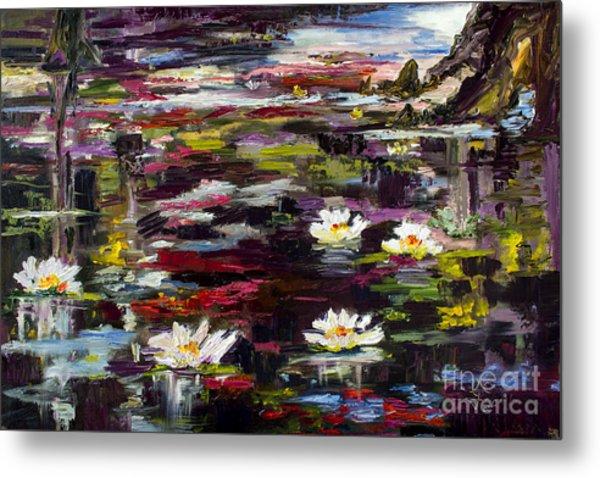 Black Water Lily Pond Metal Print