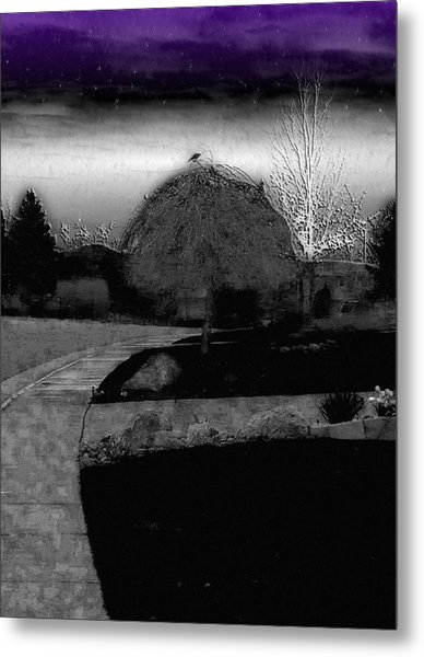 Blackbird In Tree Under Purple Night Sky Metal Print