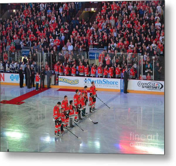 Blackhawks Fight Cancer Metal Print