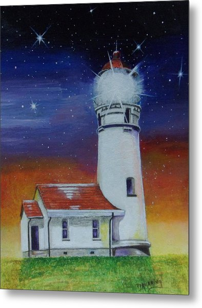 Metal Print featuring the painting Blanco Lighthouse by Thomas J Herring