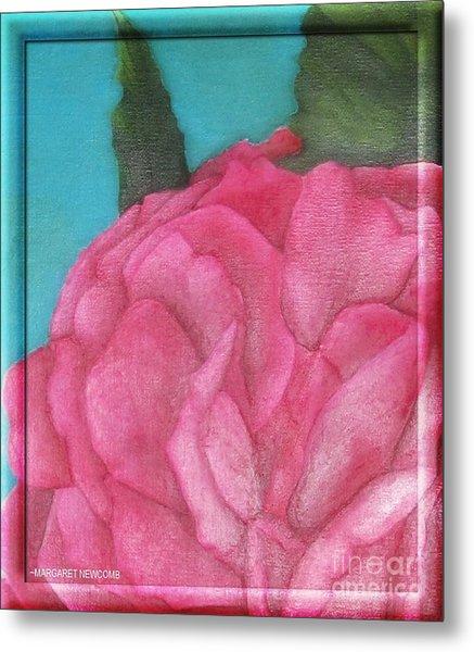 Blaze Rose Oil On Canvas Metal Print