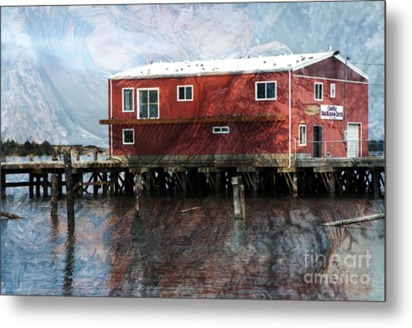 Blended Oregon Dock And Structure Metal Print by Ronald Hoggard