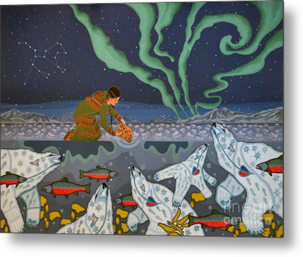 Metal Print featuring the painting Blessing Of The Polar Bears by Chholing Taha