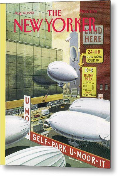 Blimp Park Metal Print by Bruce McCall