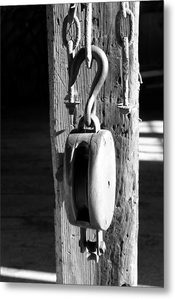 Block And Tackle 3 Bw Metal Print by Mary Bedy
