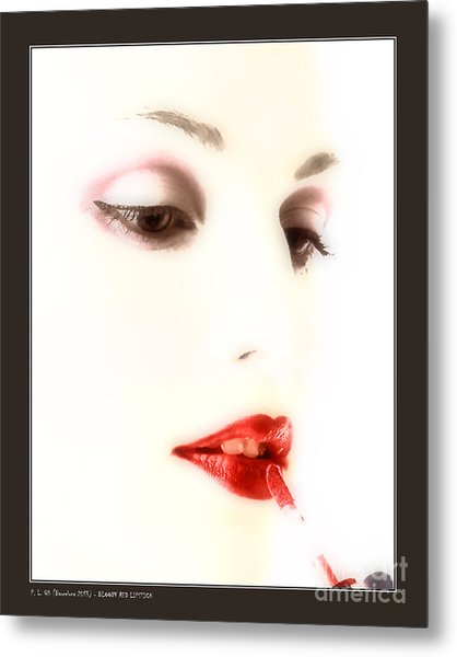 Blood Red Lipstick Metal Print