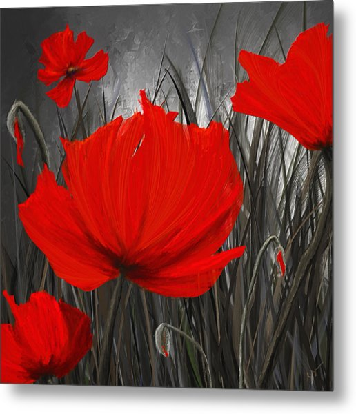 Blood-red Poppies - Red And Gray Art Metal Print