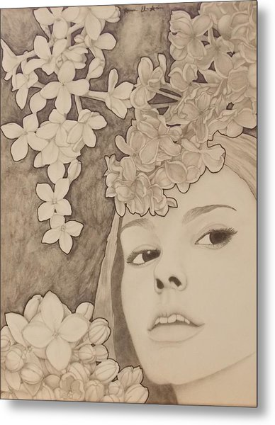 Blooming Girl Lilac  Refined Metal Print