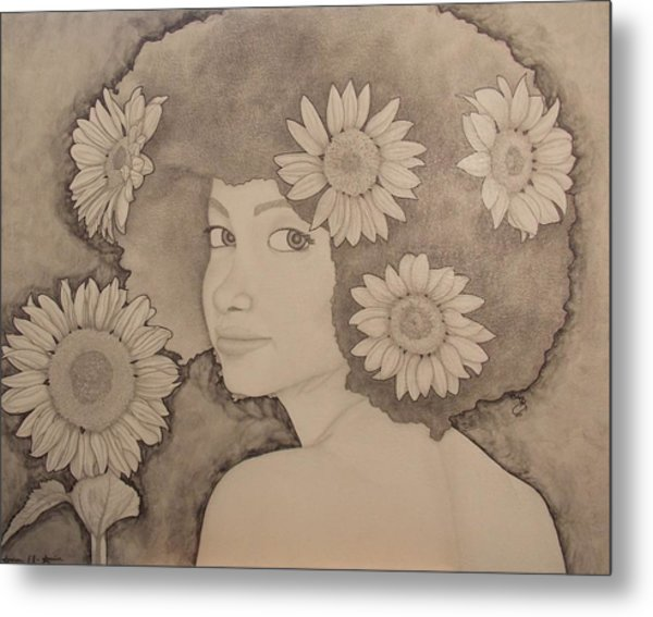 Blooming Girl Sunflower Refined Metal Print