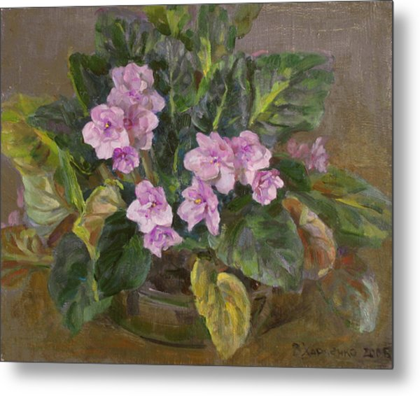 Blossoming Violet Metal Print by Victoria Kharchenko