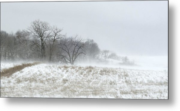 Blowing Snow Over Fields And Forest Metal Print