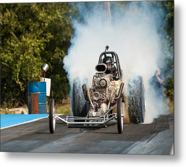 Blown Front Engine Dragster Burnout Metal Print