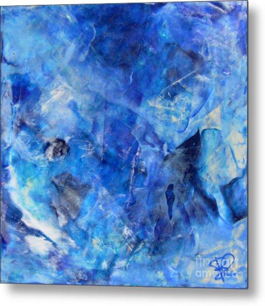 Blue Abstract Square Painting Blue Shades Modern Wall Art By Chakramoon Metal Print by Belinda Capol