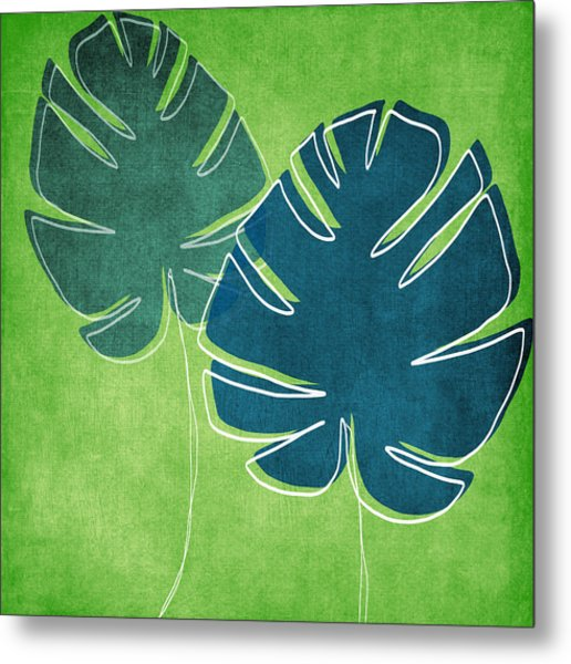 Blue And Green Palm Leaves Metal Print