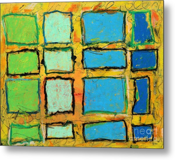 Blue And Green Windows Metal Print by Kelly Athena
