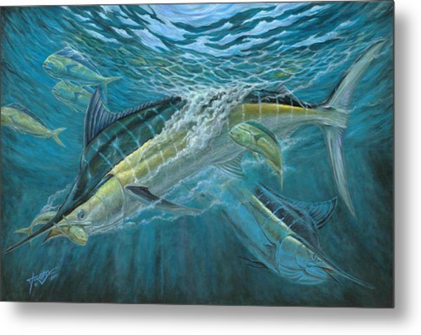 Blue And Mahi Mahi Underwater Metal Print