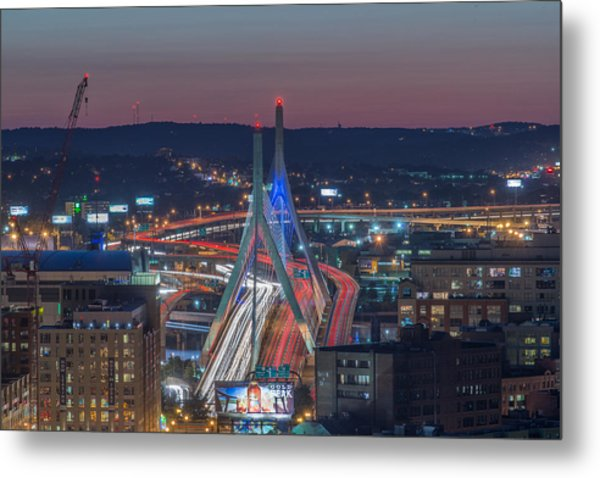 Blue And Red Zakim Metal Print