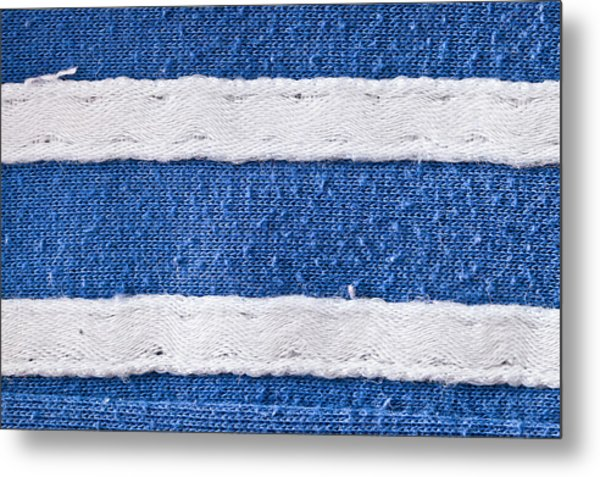 Blue And White Fabric Metal Print