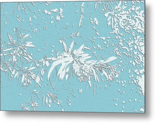 Blue And White Leaves Metal Print