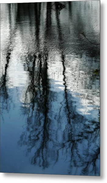 Blue And White Reflections Metal Print
