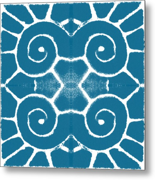 Blue And White Wave Tile- Abstract Art Metal Print