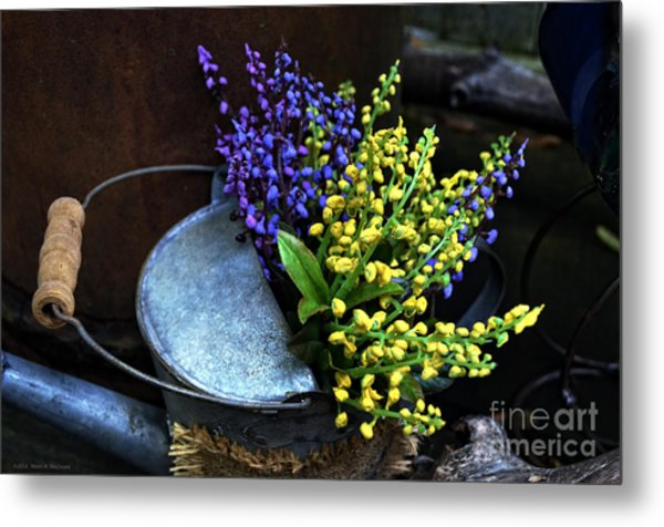 Blue And Yellow Flowers Metal Print