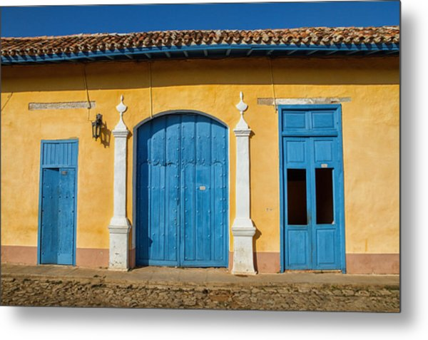 Blue And Yellow Metal Print