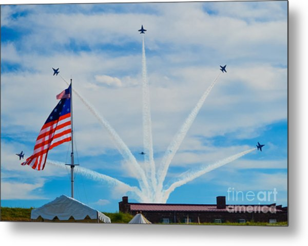Blue Angels Bomb Burst In Air Over Fort Mchenry Finale Metal Print