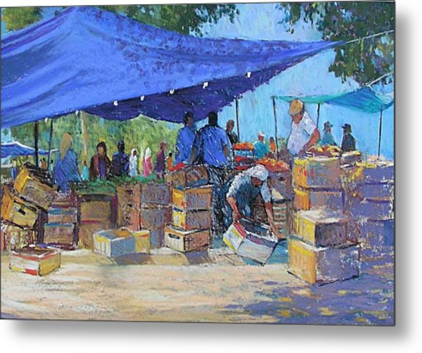 Blue Awnings Metal Print by Jackie Simmonds