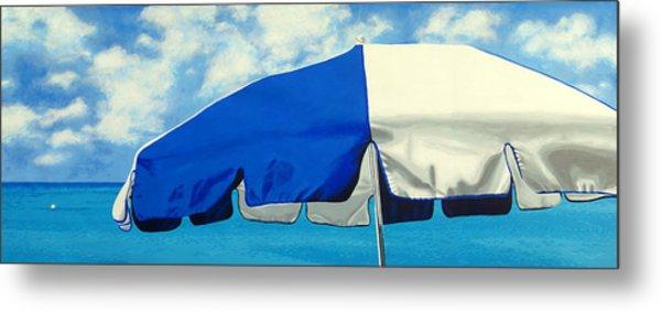 Blue Beach Umbrellas 1 Metal Print