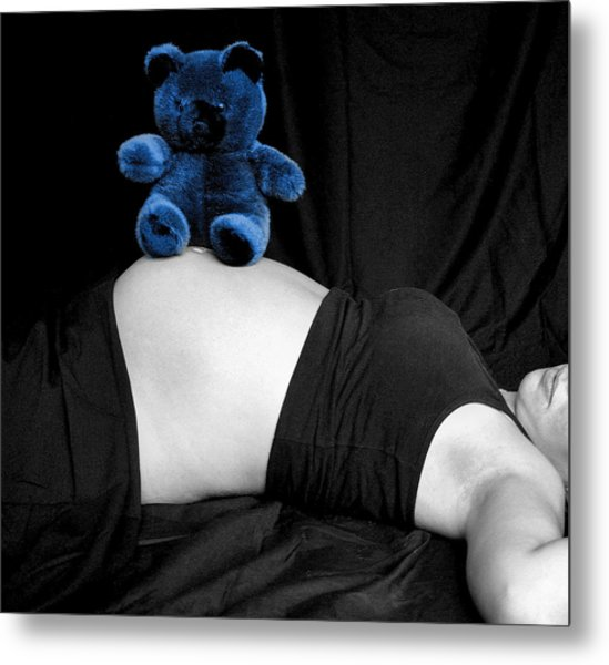 Blue Bear And Baby Belly Metal Print by Melissa Kimball