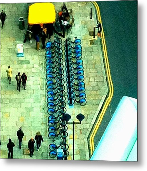 Blue Bikes: Saffron Stripes Metal Print